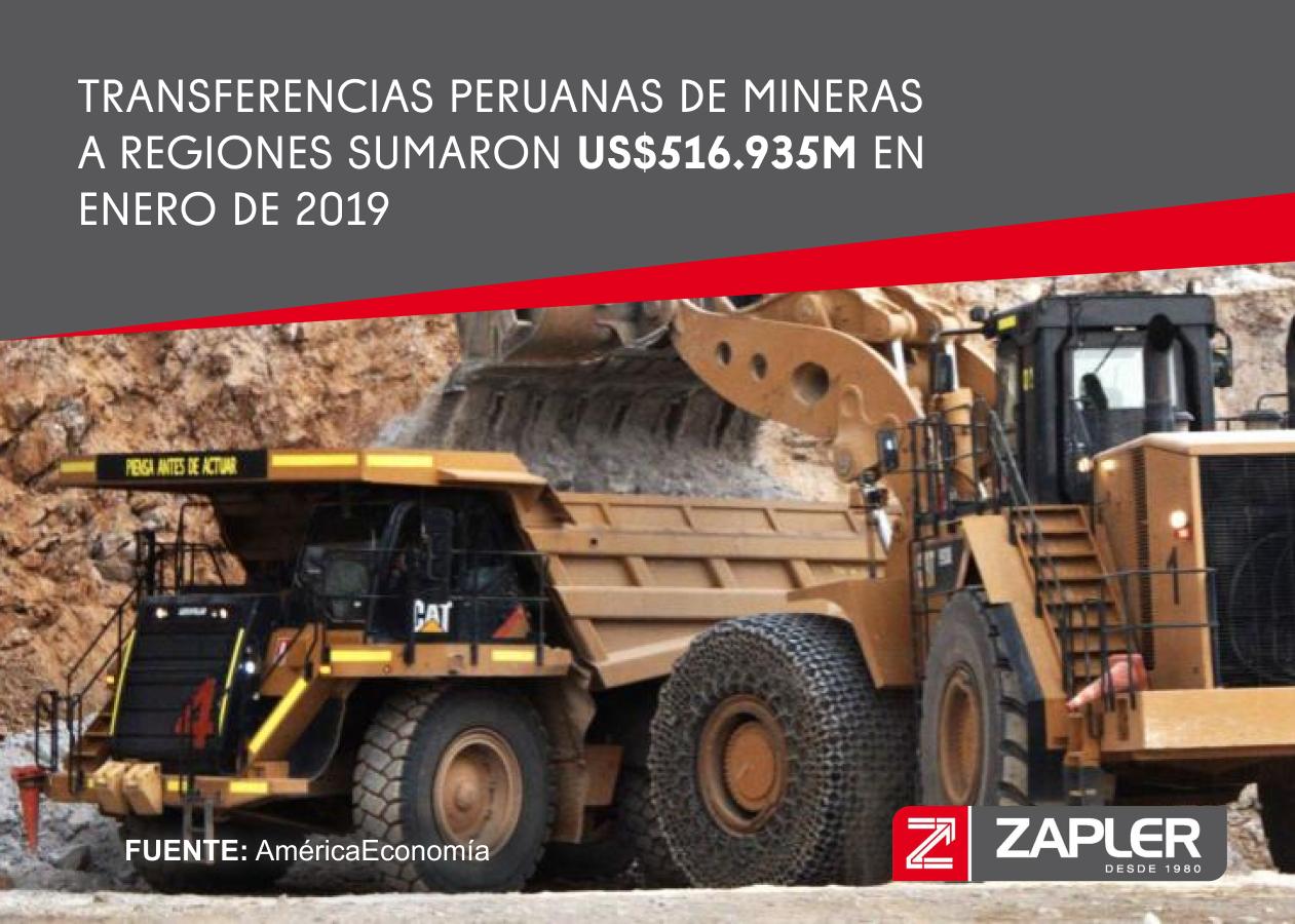 Transferencias peruanas de mineras a regiones sumaron US$516.935M en enero de 2019