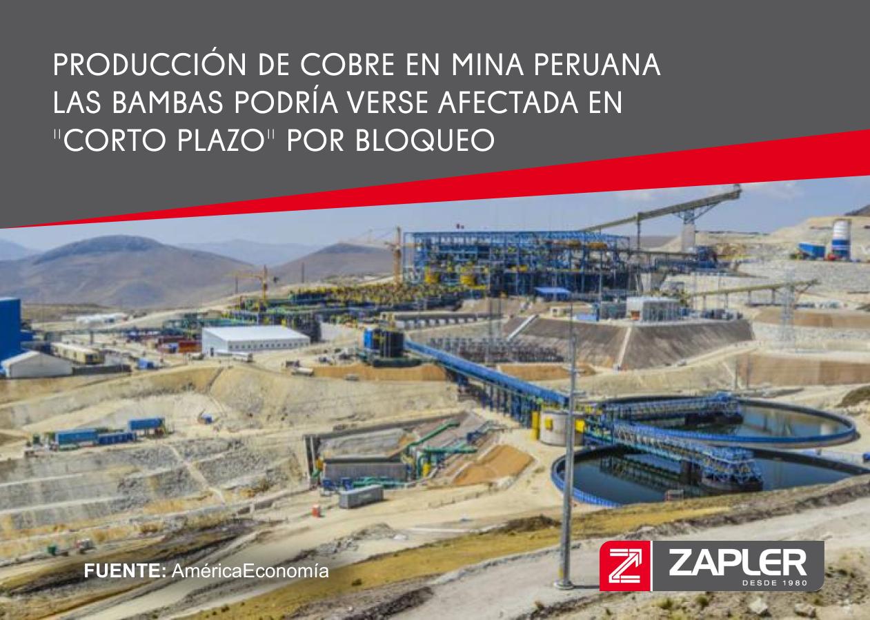 Producción de cobre en mina peruana Las Bambas podría verse afectada en
