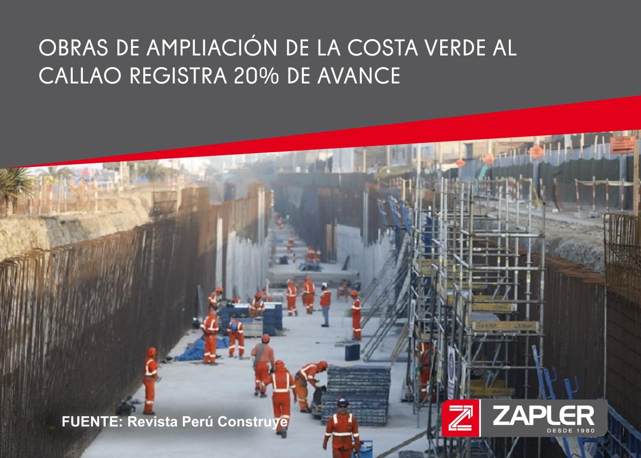 Obras de ampliación de la Costa Verde al Callao registra 20% de avance