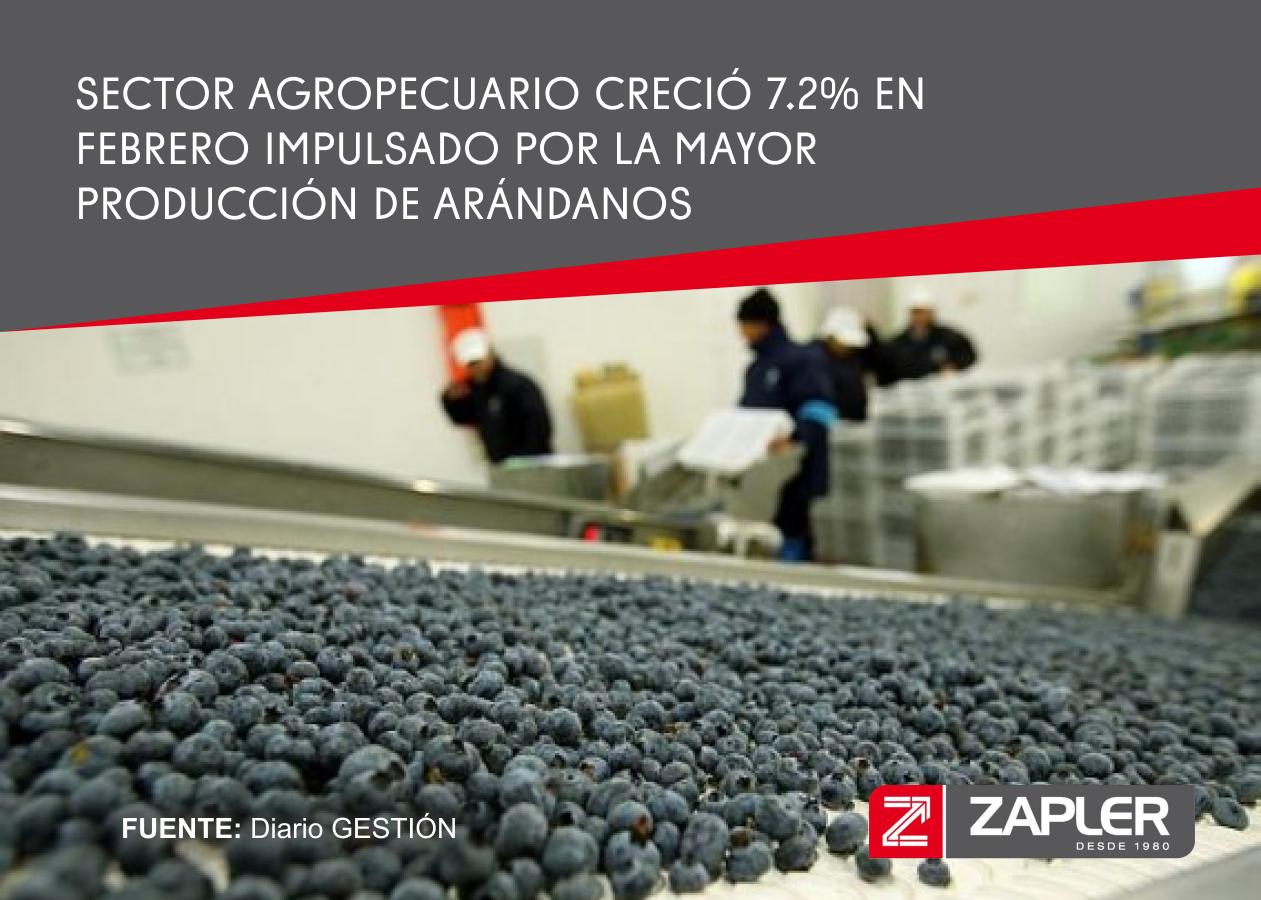 Sector agropecuario creció 7.2% en febrero impulsado por la mayor producción de arándanos